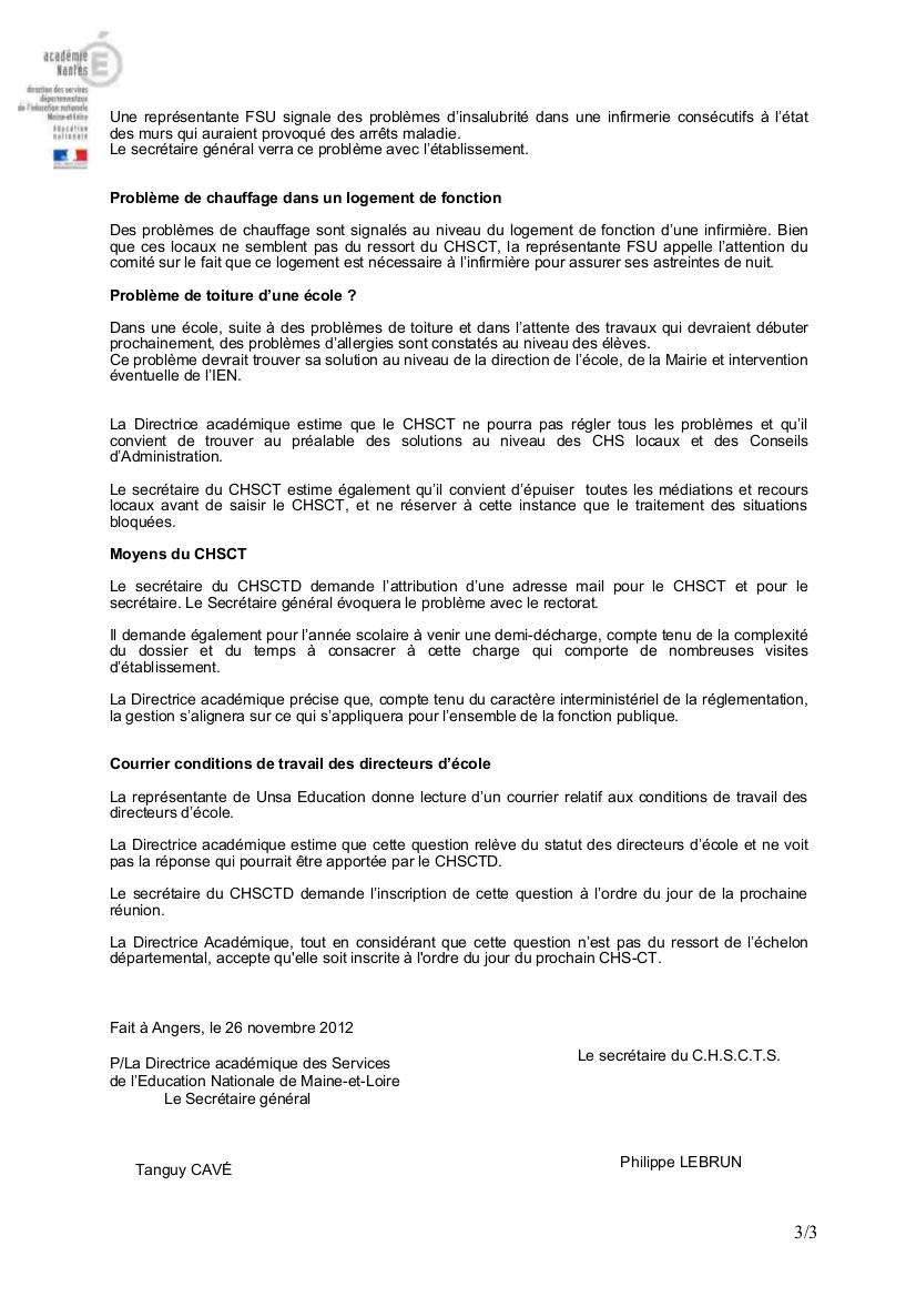 Compte Rendu Reunion Du Chs Ct Du 13 Novembre 2012 Dans La Rubrique Comite D Hygiene Et Securite Conditions De Travail Document Snuipp Fsu De Maine Et Loire